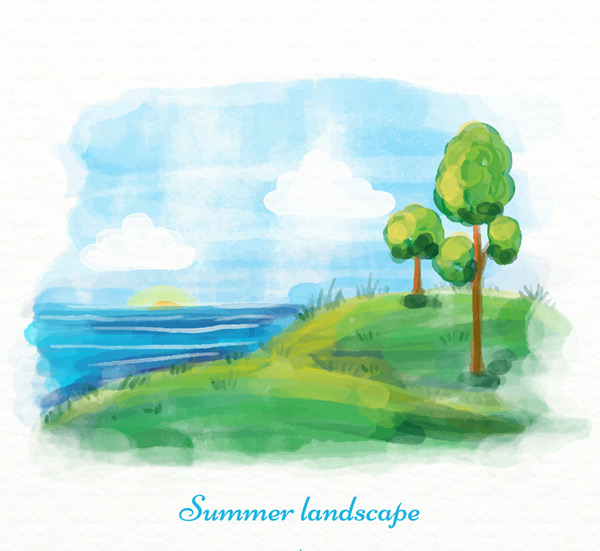 Summer beach trees scenery Vector AI