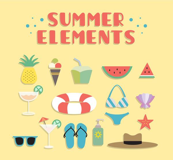 Summer beach vacation elements Vector AI