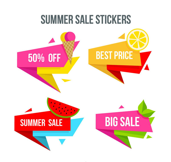Summer Food promotional stickers Vector AI