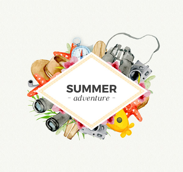Summer holiday elements Vector AI