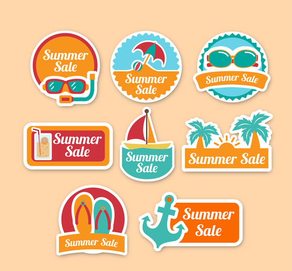 Summer holiday promotional labels Vector AI