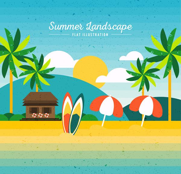 Summer landscape Vector AI