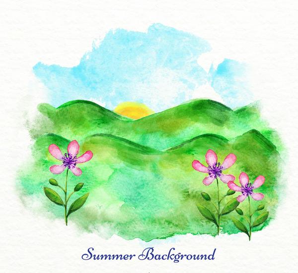Summer mountain scenery Vector AI