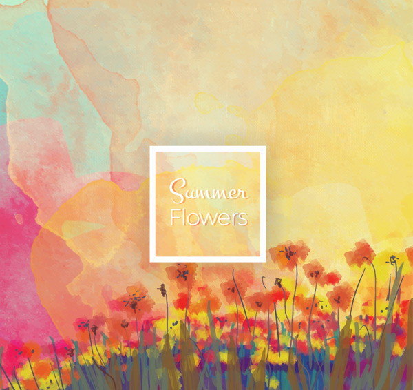 Summer poppy flowers scenery Vector AI