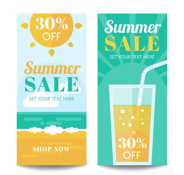 Summer promo banner Vector AI