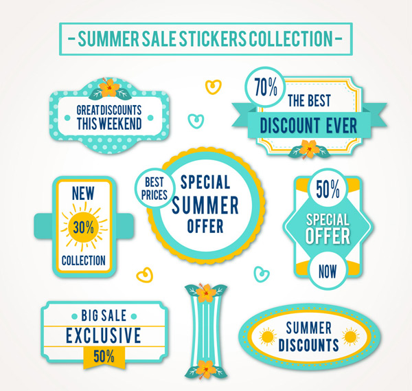 Summer promotion stickers Vector AI 01