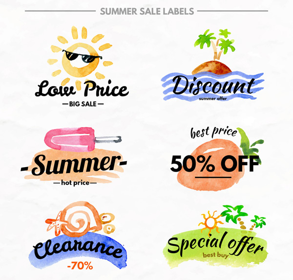 Summer promotional labels Vector AI