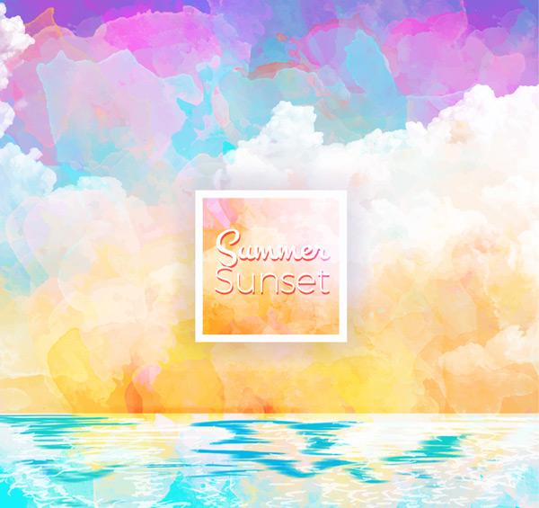 Summer sea sunset scenery Vector AI