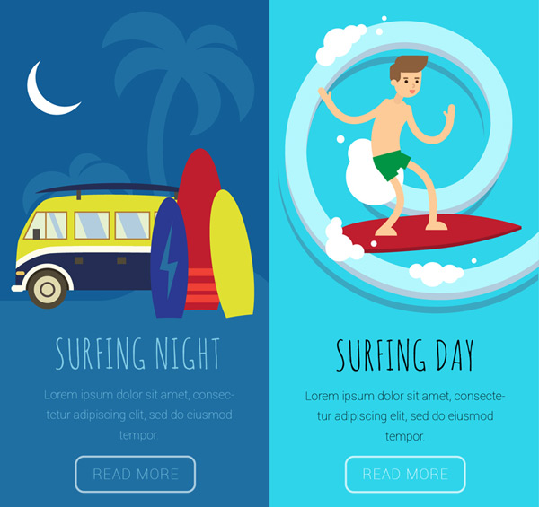 Summer surfing illustration Vector AI