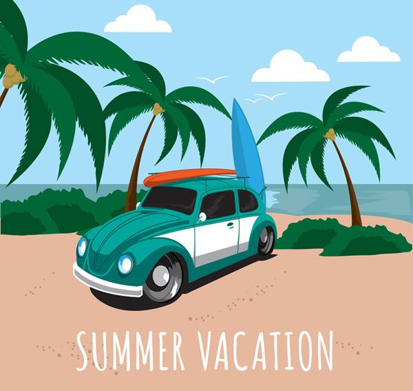 Surfing holiday illustration vector