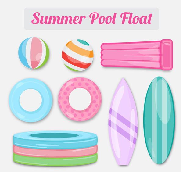 Swimming pool inflatable toys Vector AI