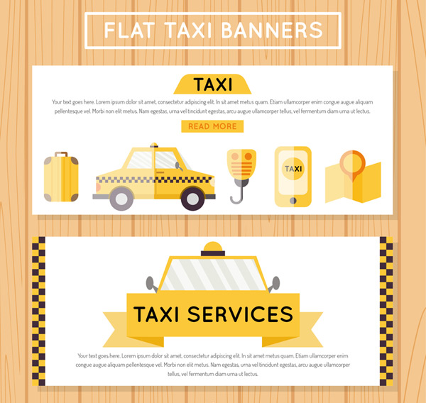 Taxi element banner Vector AI