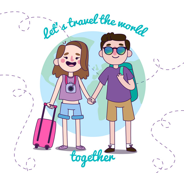 The lovers who travel around the world Vector AI