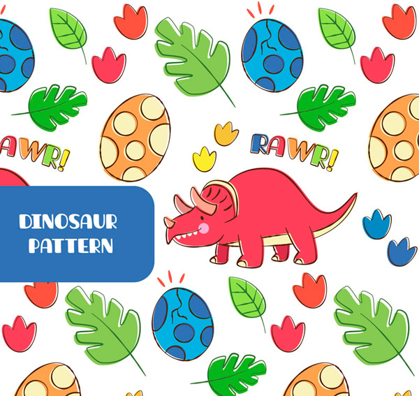 Triceratops dinosaur eggs background Vector AI