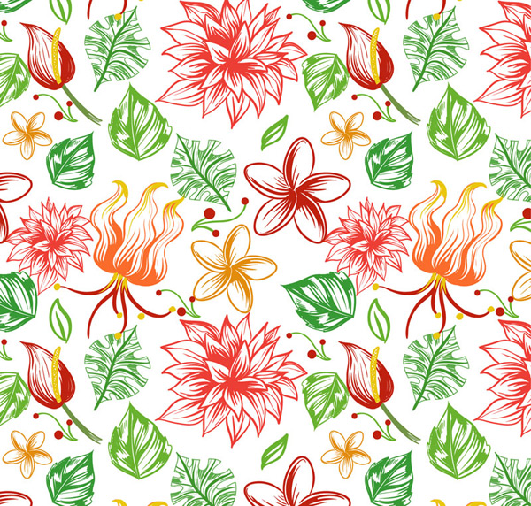 Tropical floral seamless background Vector AI