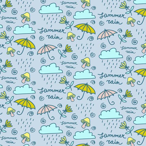 Umbrella and rain clouds background Vector AI