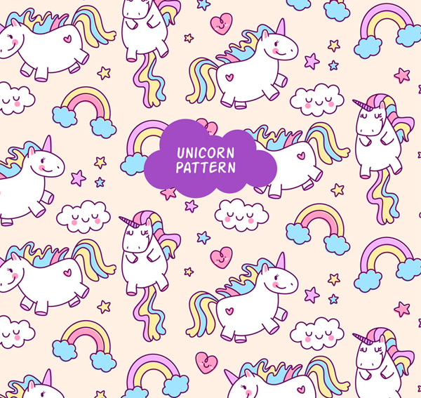 Unicorn clouds background Vector AI