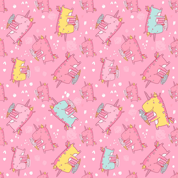 Unicorn seamless background vector