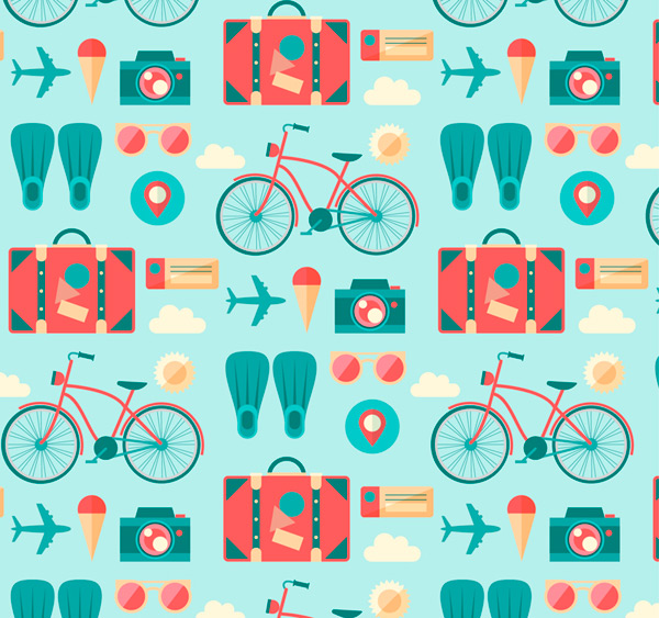 Vacation elements seamless background Vector AI 01