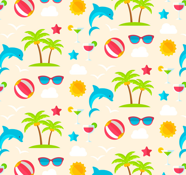 Vacation elements seamless background Vector AI 02