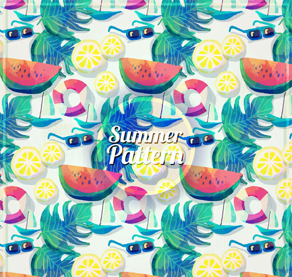 Vacation elements seamless background Vector AI 03