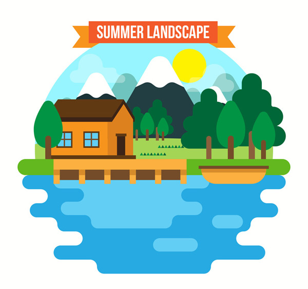 Vacation log cabin by the Lake landscape Vector AI