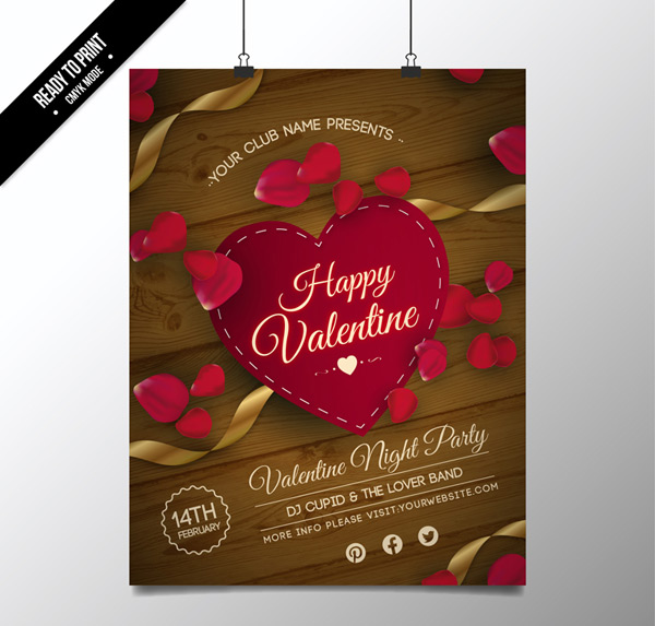 Valentine's Day party flyers Vector AI