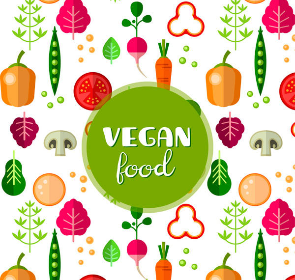 Vegan food, Vegetable seamless background vector