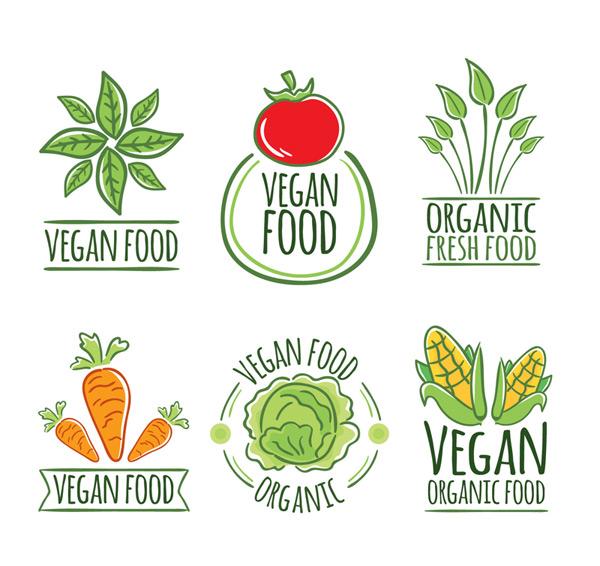 Vegetarian vegetable labels Vector AI