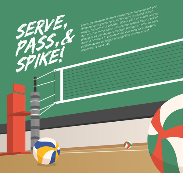 Volleyball court wit illustration Vector AI