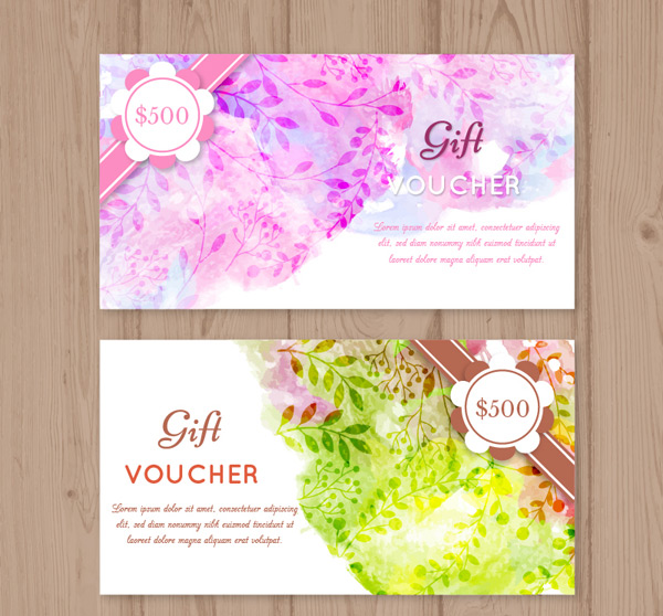 Water painting flowers vouchers Vector AI
