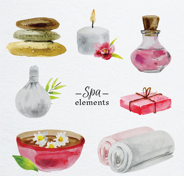 Water painting Spa elements Vector AI