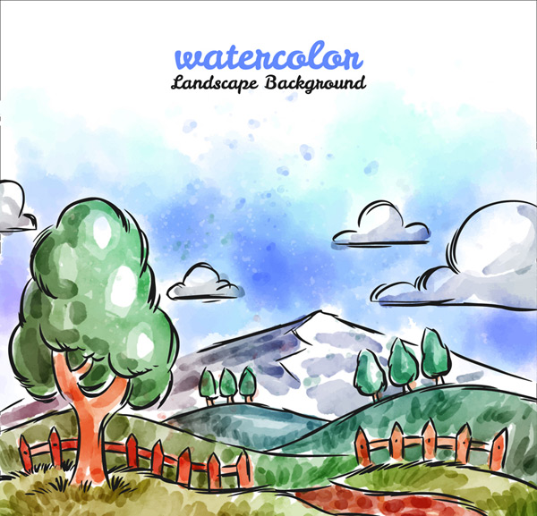 Water painting the countryside landscape Vector AI