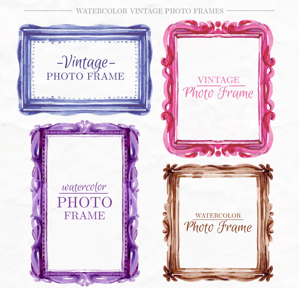 Water painting vintage photo frames Vector AI