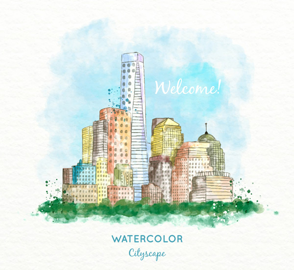 Watercolor cities construction landscape Vector AI