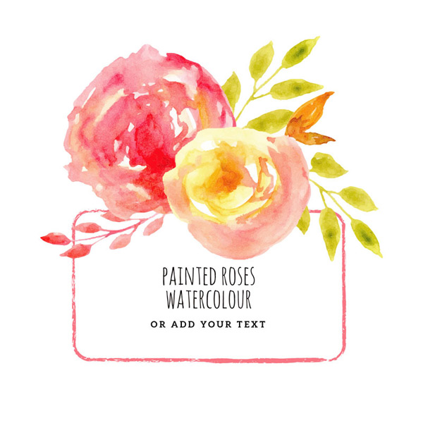 Watercolor roses frame Vector EPS