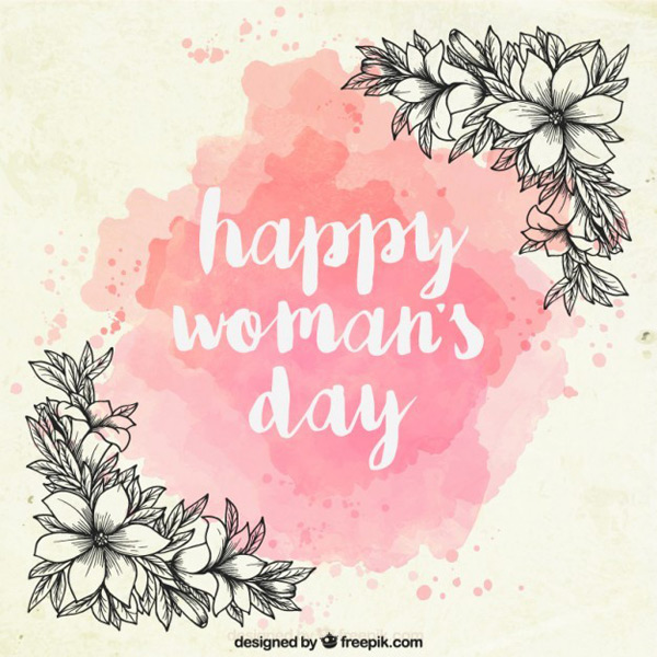 Women's day hand-painted flowers Vector AI