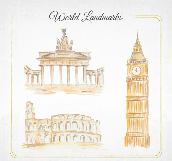 World famous buildings Vector AI