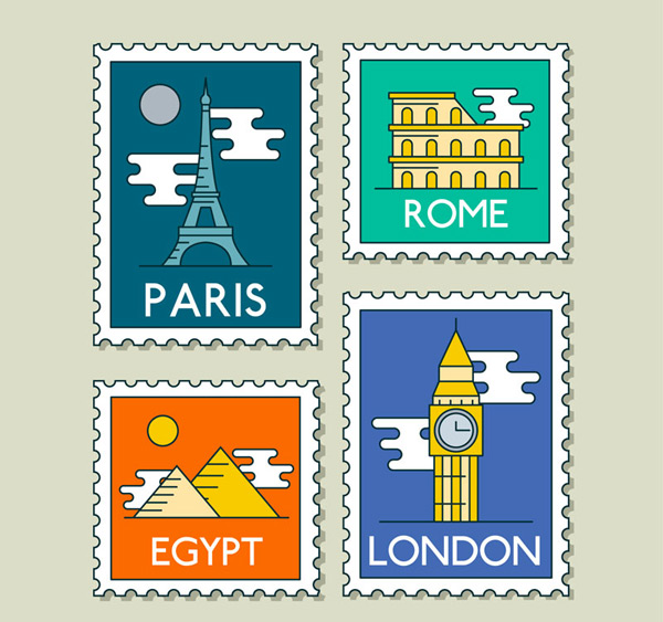 World Travel stamps Vector AI