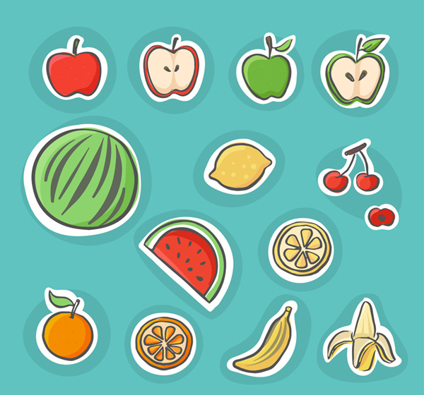 14 painted fruit Vector AI