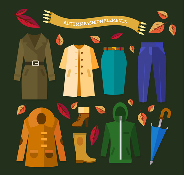 Autumn costumes and accessories Vector AI