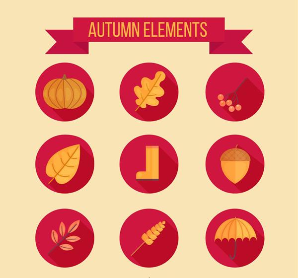 Autumn element icons Vector AI