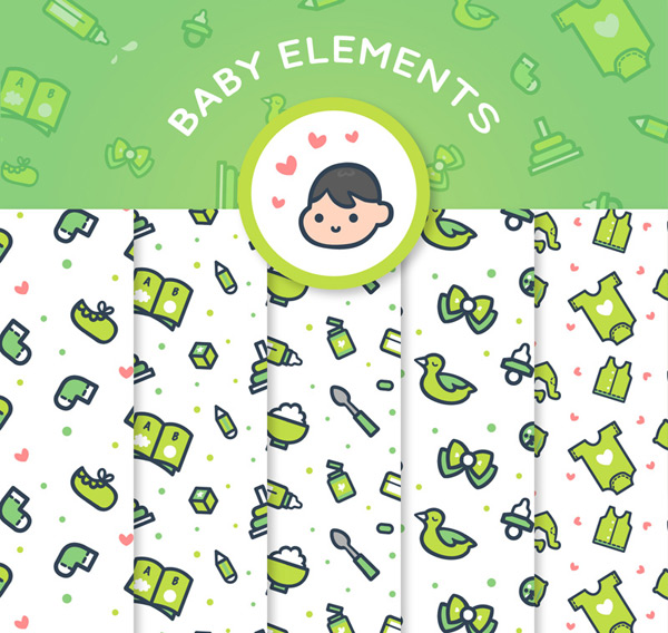 Baby supplies seamless background Vector AI