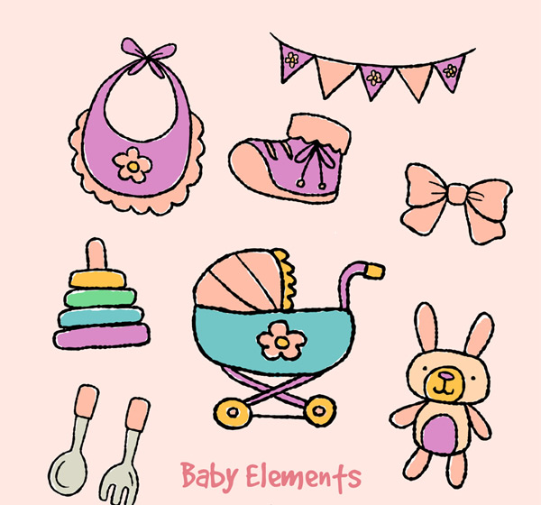 Baby supply elements Vector AI