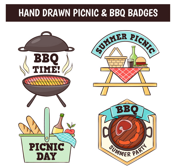 Barbecue and picnic coat of arms Vector AI