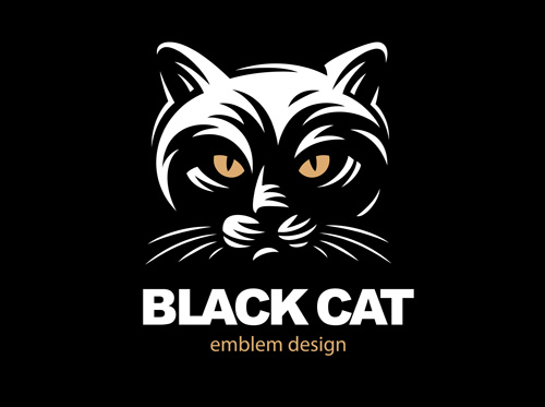 Black Cat element symbol Vector EPS
