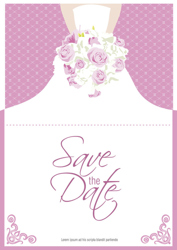Bouquet bride folding cards Vector AI