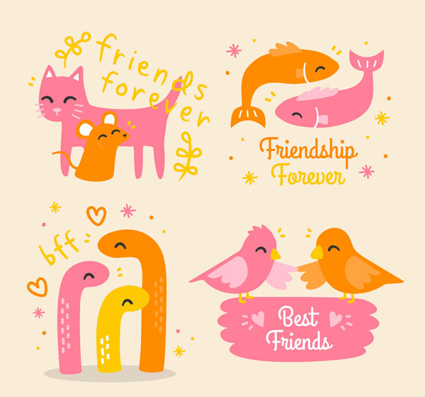 Cartoon animal friendship partners Vector AI