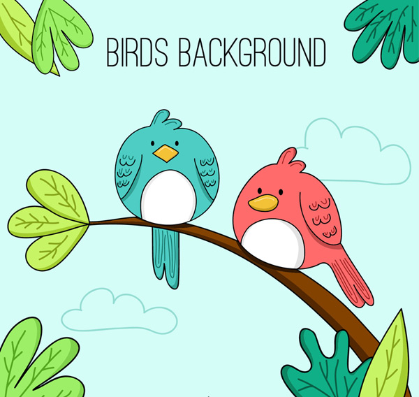 Cartoon Bird on a branch Vector AI
