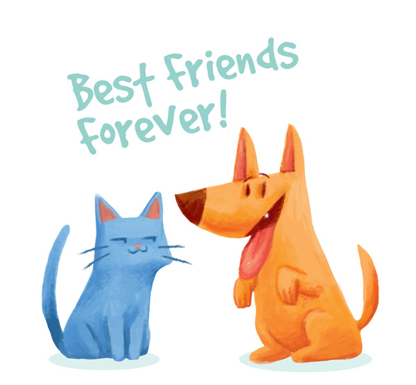 CAT and dog friendship Vector AI